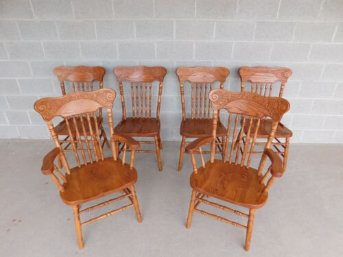 Tom Seely Oak Pressed Back Chairs - Set of 6