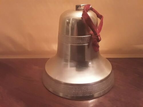 Vtg Japan Christmas Bell Musical Gold Metal w/Pull String  Plays Jingle Bells