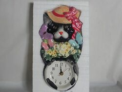 Ceramic Kitten Cat Battery Operated Wall Clock Butterflies Flowers Hat Colorful