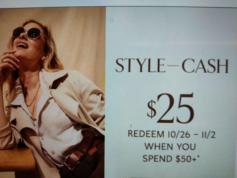 Banana Republic Factory Style Cash $25 off $50 Valid 10/26 - 11/2
