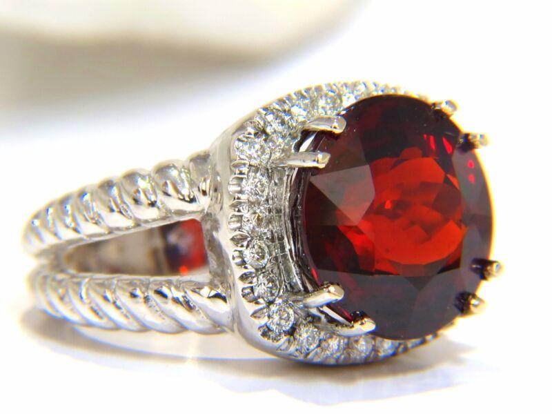$6500 13.12ct Natural Spessartite Garnet Diamonds Ring Vivid Red 14kt Rope Twist