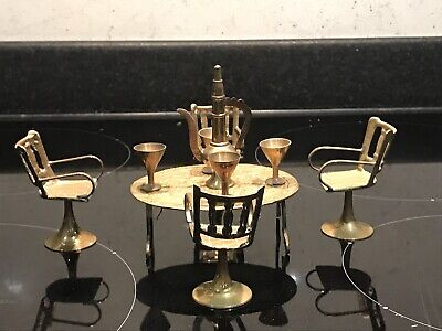 Vintage Dolls House Small Brass Furniture Table, Chairs etc