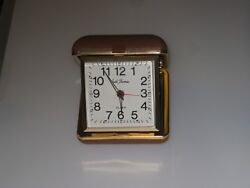 Vintage Seth Thomas Wind Up Travel Alarm Clock Square Case Brown collectible