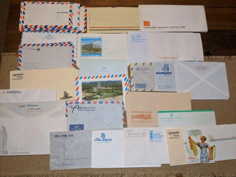 Lot Vintage Hotel Stationary Envelopes From Around The World 1970 era