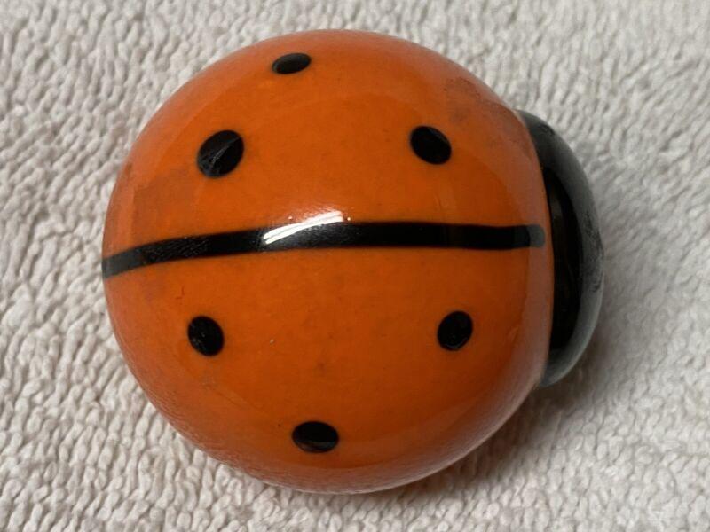 "Glass Lady Bug -Orange & Black 2"" in Length"