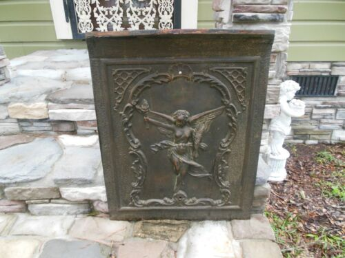 """Antique WL Sharp & Son 1895 Angel Fairy Ornate Fireplace Summer Cover 20"""" x 26"""""""