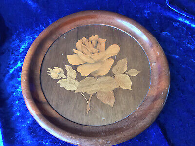 """Vintage Wooden Marquetry Tray Of A Rose-11"""" Diameter"""