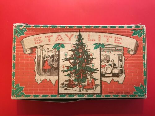 Vintage Stay Lite Brand C6 Cone Christmas Light Set in Original Box