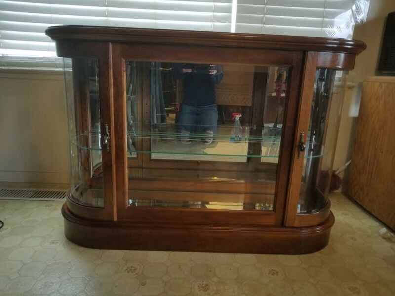 Curved End Curio Display Console Cabinet By Pulaski