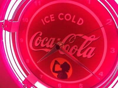 Coca Cola Coke Ice Cold Soda Fountain Diner Man Cave Neon Wall Clock Sign