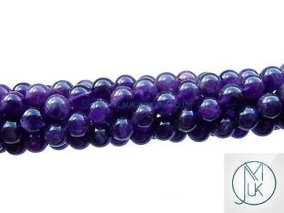 Amethyst Dark Natural Gemstone Round Beads 8mm Jewellery Making (47-50 Beads)
