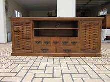 SOLID TIMBER TV BENCH, BALINESE, VGC Greenslopes Brisbane South West Preview