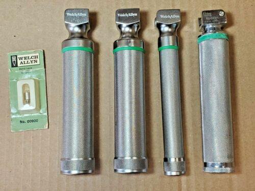 4 Welch Allyn Laryngoscope Handles w bulbs -  60814, two 60813, RUSCH & 00900