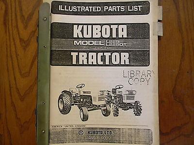 Kubota L225 L225dt Tractor Parts Manual