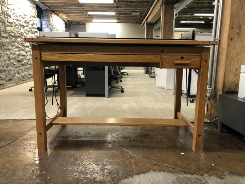 Vintage Hamilton Wood Drafting Art Table Desk Architect Engineer Parallel Bar