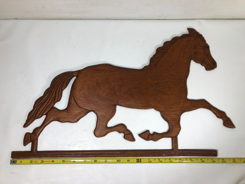 """Vtg  21"""" Wooden Galloping Horse Wall Hanging Weathervane Look Farmhouse Decor"""