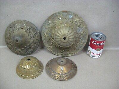 Antique Vtg Brass Bronze Oil Electric Lamp Chandelier Parts Lot Canopies (L6)