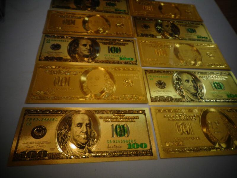 LOT OF 2*24 KARAT 99.9% GOLD $ 100 DOLLAR*GREEN SEAL* USA MINT BILL-RIGID HOLDER