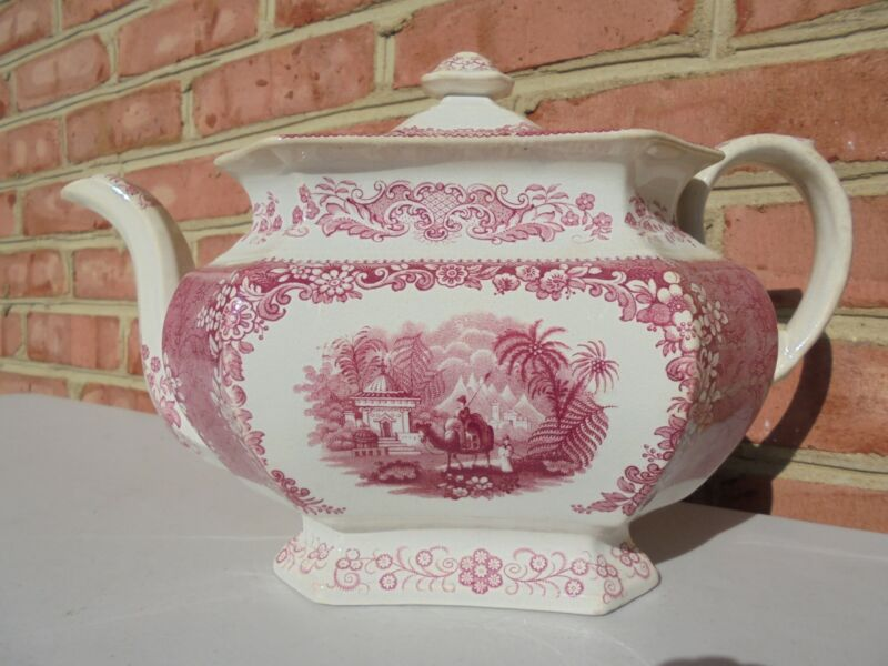 Antique 19th C Staffordshire Red Transferware Large Teapot Man on Camel