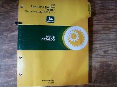 John Deere 112 Lawn Garden Tractor Parts Catalog Manual Pc-1277 Sn 250001-up
