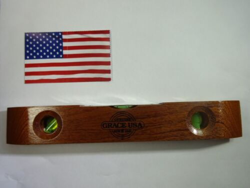 "Grace USA TOOLS 9"" Wooden Torpedo Level MADE IN USA Wood Vintage Style Carpenter"