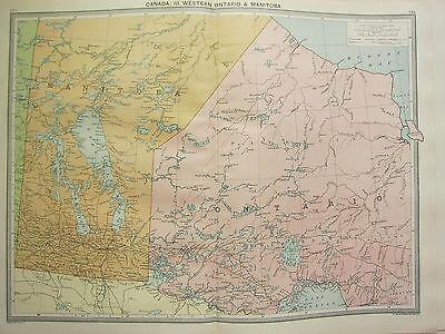 1920 LARGE MAP ~ CANADA ~ WESTERN ONTARIO & MANITOBA THUNDER BAY