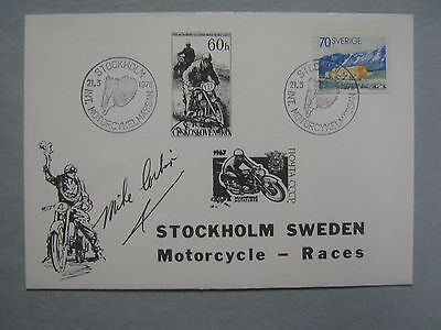 """MIKE CORBIN """"Electric Motorcycle Inventor"""" Signed 1976 Stockholm Races  Envelope"""