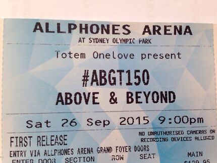 [SOLD] ABGT150 ABOVE AND BEYOND SYDNEY HARDCOPY STANDING Campsie Canterbury Area Preview