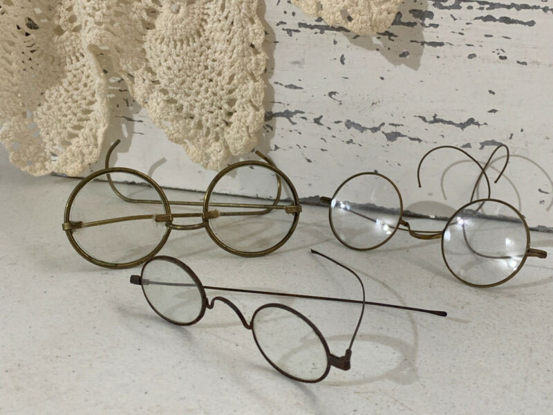 Lot Of 3 Antique 1900s Wire Rim Eyeglasses