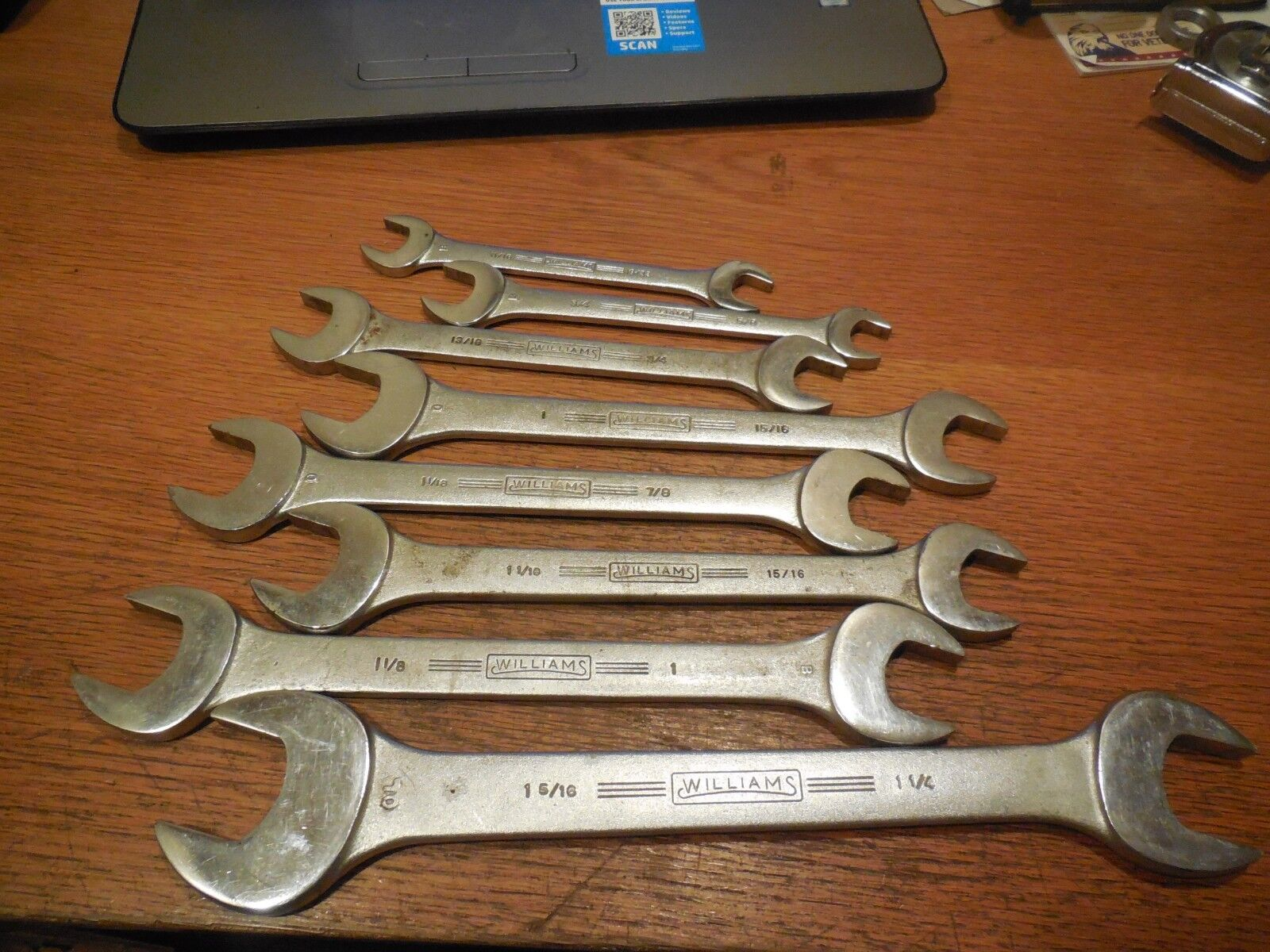"10 Williams SUPERRENCH Double Open Ended Wrenches 19/32"" to 1-1/2"""