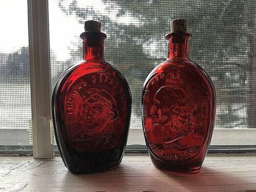 VINTAGE WHEATON NJ RUBY RED GLASS JEFFERSON & WASHINGTON  MINI BOTTLE FLASK CORK