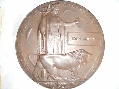 Death Plaque WW1 and Medals John Murphy