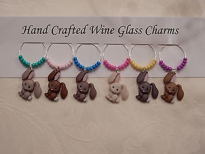 """""""  EASTER BUNNIES""""  SET OF 6  HAND CRAFTED Wine glass drink marker Charms"""