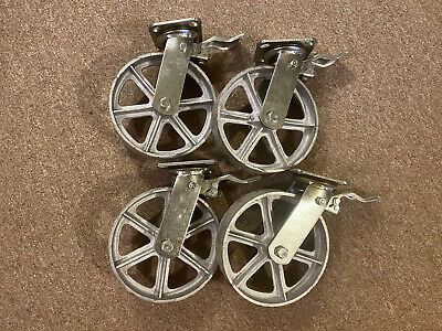 8 Swivel Plate Casters Heavy Duty Cast Iron Wheel Set Of 4 With Brake
