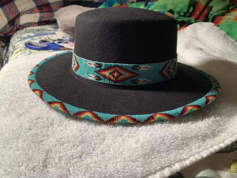 Native American Beaded Full Brim Fedora Bowlers Hat