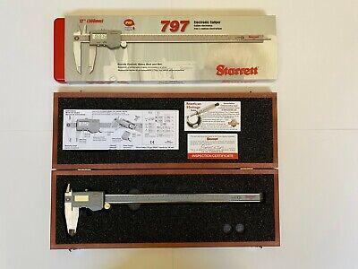 Starett 12 Inch Electronic Caliper No. 979b-12300 With Wood Case Epn68661