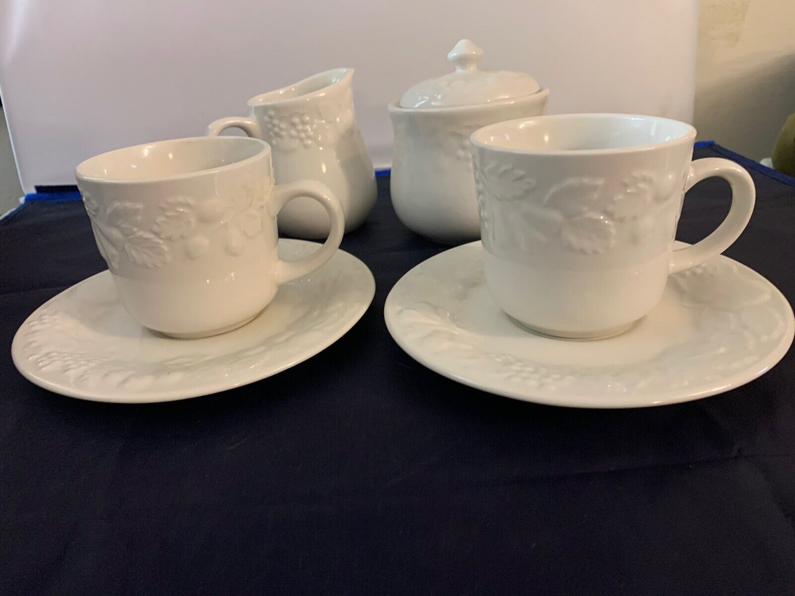 Retired Gibson China 2 Coffee/Tea Cups SAUCERS SUGAR CREAM White Fruit Pattern - $39.99