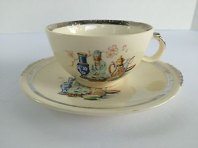 The Paden City Pottery Far East Pattern Tea Coffee Cup And Saucer 1939