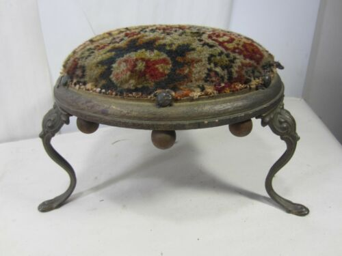 Antique Round 3 Leg Petite Footstool with Rug Top