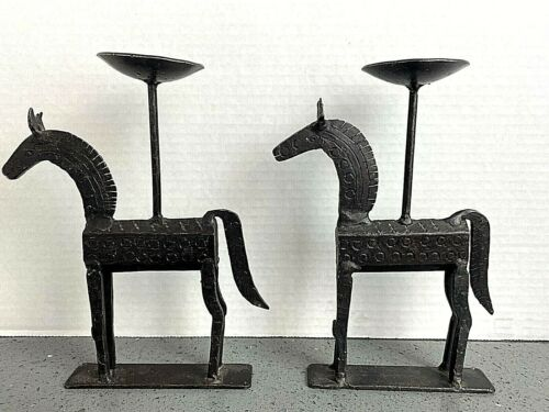 Trojan Horse Cast Iron Etruscan Candle Holders Pair Old!! X234