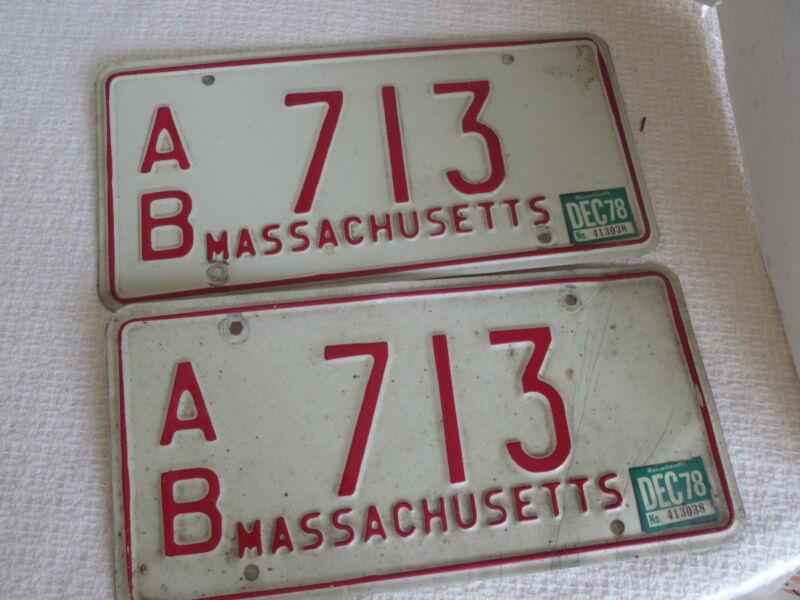 1972-80s Massachusetts  License Plate Tag A/B 713 pair