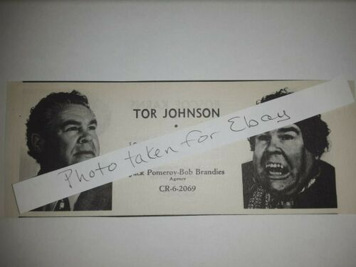 Tor Johnson Original 1940s actors casting ad Plan 9 From Outer Space star