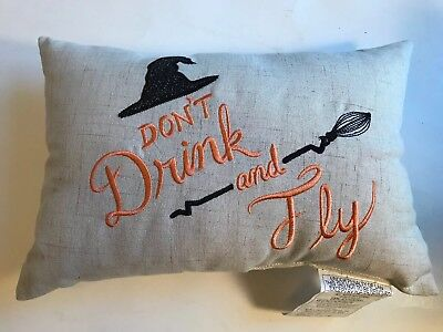 "DON'T DRINK  and  FLY  - Rectangular Pillow 13"" X 9"" Halloween Witch Broom - 13 Halloween Drinks"