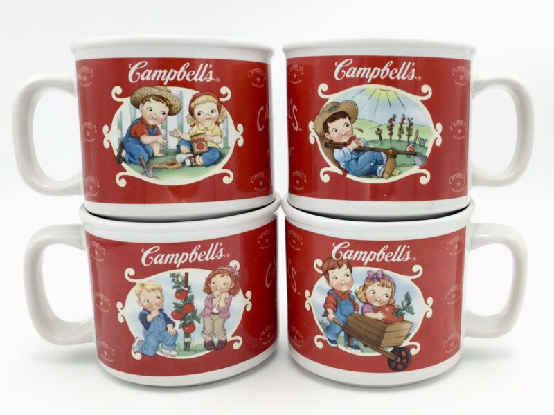 Set/4 2002 CAMPBELL'S SOUP MUGS #31881/31891 Microwave & Dishwasher Safe, EUC