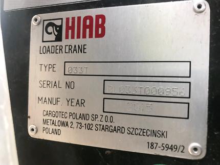 2015 HIAB New 033T Crane