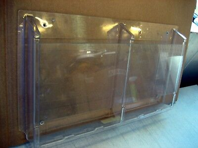 "Used Safco 2 Pocket Delux Clear Pamphlet Display Rack 21"" x 12"" w/warranty"