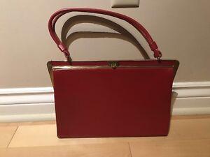 1950's Fassbender Red Leather handbag