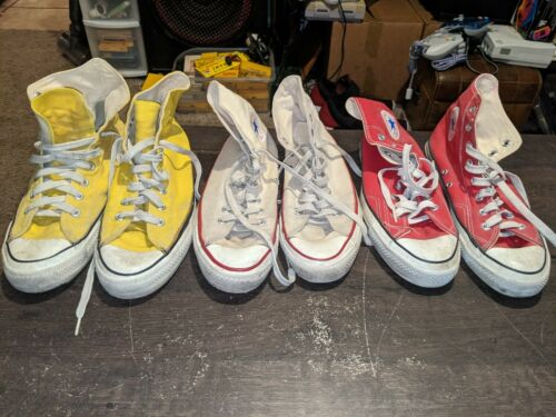 Vintage USA CONVERSE Chuck Taylor All Stars High Top Shoes sz10 Yellow Red White