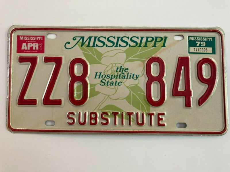 1979 Mississippi License Plate Natural Sticker Substitute Nice Condition