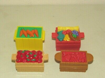 Fisher-Price Little People FOOD CRATES Noah's Ark Nativity Zoo Farm Apples Lot 3